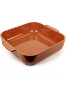 Kepimo / serviravimo indas APPOLIA kvadratinis 29,5x29,5x7,5 cm 5,4 L, keramika, terakotos spalva, PEUGEOT (Prancūzija)