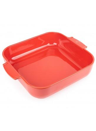 Kepimo / serviravimo indas APPOLIA kvadratinis 29,5x29,5x7,5 cm 5,4 L, keramika, raudonas, PEUGEOT (Prancūzija)