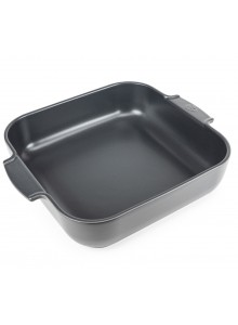 Kepimo / serviravimo indas APPOLIA kvadratinis 29,5x29,5x7,5 cm 5,4 L, keramika, t. pilkas, PEUGEOT (Prancūzija)