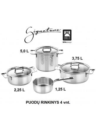 Puodų rinkinys 4 vnt, INOX 18/10 plienas, SIGNATURE, BRA® (Ispanija)