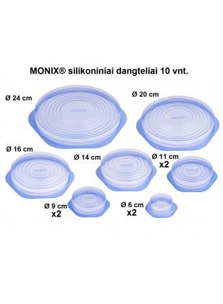 Tamprių dangtelių rinkinys 10 vnt, Ø  6-9-11-14-16-20-24 cm, silikonas, melsvas, MONIX® (Ispanija)