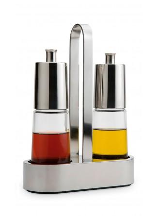 Rinkinys indeliai aliejui ir actui 2 vnt. BELLA, 200 ml, su stoveliu, 18/10 plienas / stiklas, BRA® (Ispanija)