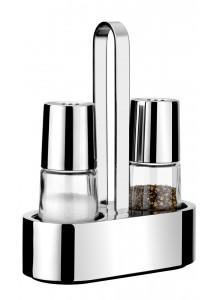 Rinkinys indeliai pipirams ir druskai 2 vnt. BELLA, su stoveliu, 18/10 plienas / stiklas, BRA® (Ispanija)
