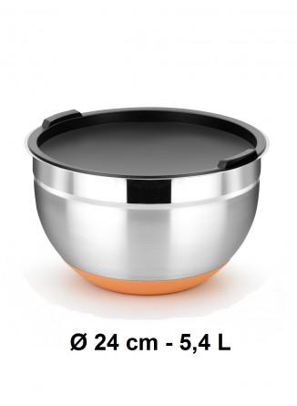 Dubuo su dangčiu Ø 24 cm, 5,4 L, nerūdijantis plienas, neslidus dugnas, EFFICIENT, BRA® (Ispanija)