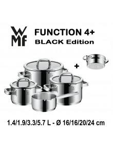 Puodų rinkinys 5 vnt. su padažine, garų įdėklu ir funkciniais dangčiais, 18/10 plienas, FUNCTION 4+, WMF (Vokietija)