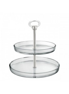 Etažerė / 2 aukštų stiklinė serviravimo lėkštė Palladio, BORGONOVO (Italija)