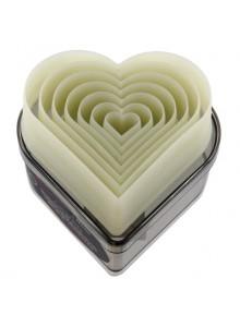 Formelės širdelės 7 vnt, pjaustyklės, su dėžute, De BUYER (Prancūzija)