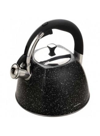 Arbatinis su švilpuku,  juodas marmuras 3.0 L, Klausberg