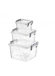 Maisto saugojimo dėžutės kvadratinės 3 vnt. HOBBY LIFE (Turkija)