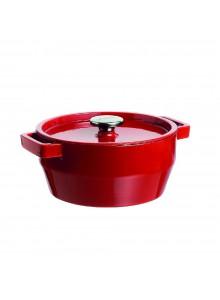 Troškintuvas - puodas su dangčiu 3,6 L SLOWCOOK, apvalus 24cm, emaliuotas ketus, raudonas, PYREX (Prancūzija)