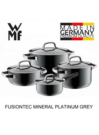 Puodų rinkinys 4 vnt. su padažine, platinos pilka spalva, FUSIONTEC MINERAL, WMF (Vokietija)