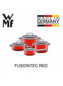 Puodų rinkinys 4 vnt. su padažine, raudona spalva, FUSIONTEC, WMF (Vokietija)