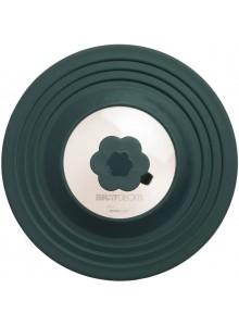 Dangtis universalus su automatiniu garo vožtuvu, Ø 32 cm, juodas silikonas / stiklas, KOCHBLUME® (Vokietija)