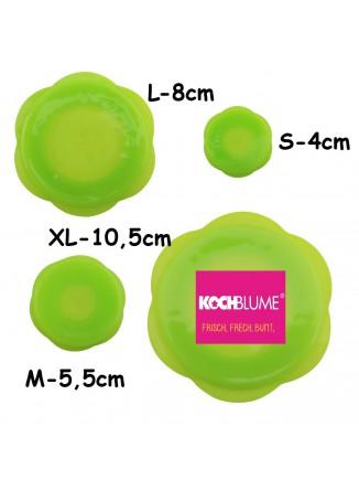 Tamprių dangtelių STRETCH-ii rinkinys 4 vnt. Ø 4-5,5-8-10,5 cm, silikonas, žalias, KOCHBLUME (Vokietija)
