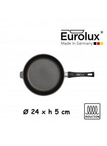 Liejinio keptuvė universali Ø 24x5 cm, indukcinė, nuimama rankena, EUROLUX® (Vokietija)