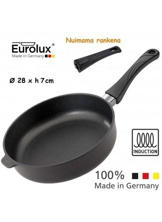 Liejinio keptuvė gili - troškintuvas Ø 28x7 cm, indukcinė, nuimama rankena, EUROLUX® (Vokietija)
