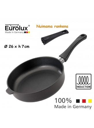 Liejinio keptuvė gili - troškintuvas Ø 26x7 cm, indukcinė, nuimama rankena, EUROLUX® (Vokietija)