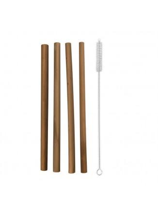 Šiaudeliai 4 vnt. ir šepetėlis, daugkartinio naudojimo, ekologiški, bambukas, ORION (Čekija)