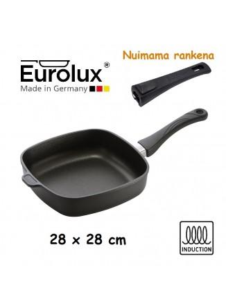 Liejinio keptuvė gili kvadratinė 28x28 cm, indukcinė, nuimama rankena, EUROLUX® (Vokietija)
