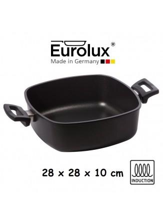 Liejinio troškintuvas 28x28x10 cm, indukcinis, su dviem rankenėlėm, be dangčio, EUROLUX® (Vokietija)