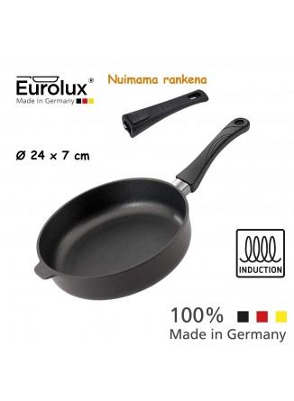 Liejinio keptuvė gili - troškintuvas Ø 24x7 cm, indukcinė, nuimama rankena, EUROLUX® (Vokietija)