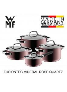Puodų rinkinys 4 vnt. su padažine, rožinio kvarco spalva, FUSIONTEC MINERAL, WMF (Vokietija)