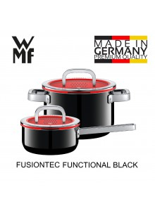 Puodų rinkinys 2 vnt. su padažine ir funkciniais dangčiais, juoda spalva, FUSIONTEC FUNCTIONAL, WMF (Vokietija)