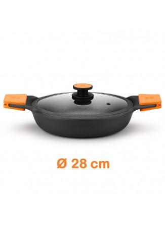 Troškintuvas - keptuvė Ø 28 cm, su dangčiu, liejinio korpusas, EFFICIENT PLUS, BRA® (Ispanija)