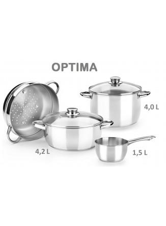 Puodų rinkinys OPTIMA 4 dalys, su garų įdėklu, 18/10 plienas, MONIX® (Ispanija)