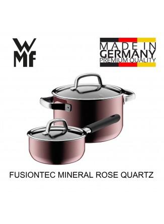 Puodų rinkinys 2 vnt. su padažine ir dangčiais, rožinio kvarco spalva, FUSIONTEC MINERAL, WMF (Vokietija)