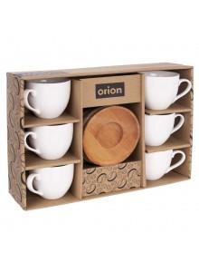 Puodeliai kavai 6 vnt. dėžutėje, 125 ml, porcelianas, su padėkliukais, ORION (Čekija)