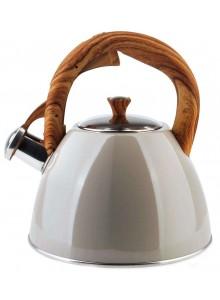 Virdulys su švilpuku 2,5 L, smėlinė / biežinė spalva, WOOD design rankena, ORION (Čekija)