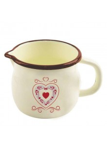 Puodelis pienui 1,0 L, Ø 12, su ąsele, emaliuotas, kreminės spalvos su dekoru, TONČA, ORION (Čekija)