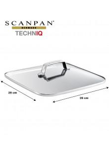 Dangtis kvadratinis 28x28 cm, grūdinto stiklo su plieniniu apvadu, TECHNIQ, SCANPAN (Danija)