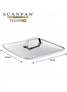 Dangtis kvadratinis 33x33 cm grūdinto stiklo su plieniniu apvadu, TECHNIQ, SCANPAN (Danija)