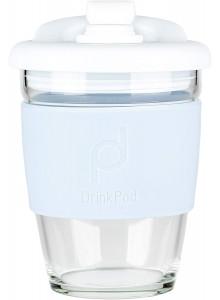 Kelioninis skaidrus puodelis su silikonu, 340 ml DRINK POD, baltas/pilkas, GRUNWERG (Anglija)