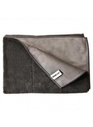 Dvipusis virtuvinis rankšluostis 60x40 cm, mikropluoštas, juodas/pilkas, KOCHBLUME® (Vokietija)