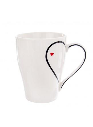 """Puodelis kavai - arbatai 380 ml, su dekoru """"ŠIRDIS"""", porcelianas, ORION (Čekija)"""